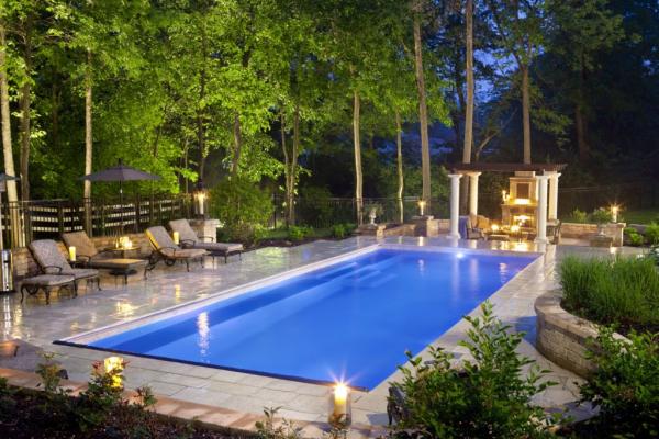 Rectangular Pool Ideas wonderful modern small space backyard landscape ideas with small rectangular infinity rectangular pool designs and custom Beautiful And Elegant Fiberglass Pool Wins Master Of Design Award