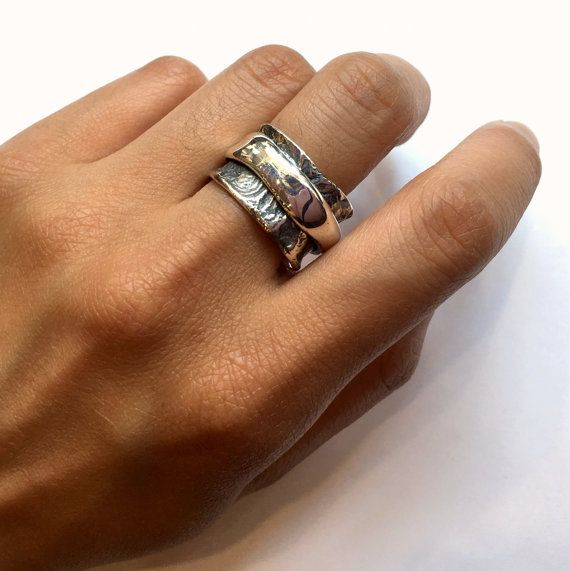 rustic mans band chunky ring unique wedding ring silver