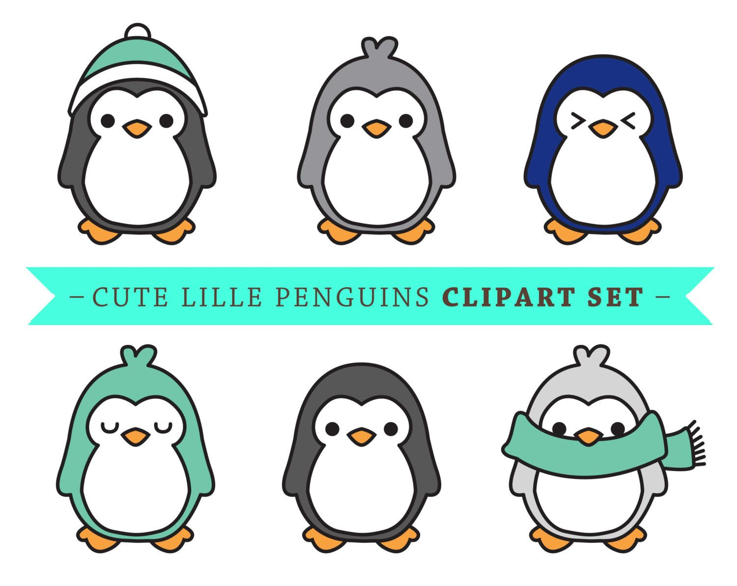 Premium Vector Penguin Clip Art - Cute Penguin clip art - Vector ...