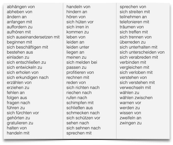 Verben mit Präposition und Akkusativ und Dativ - Verben ...