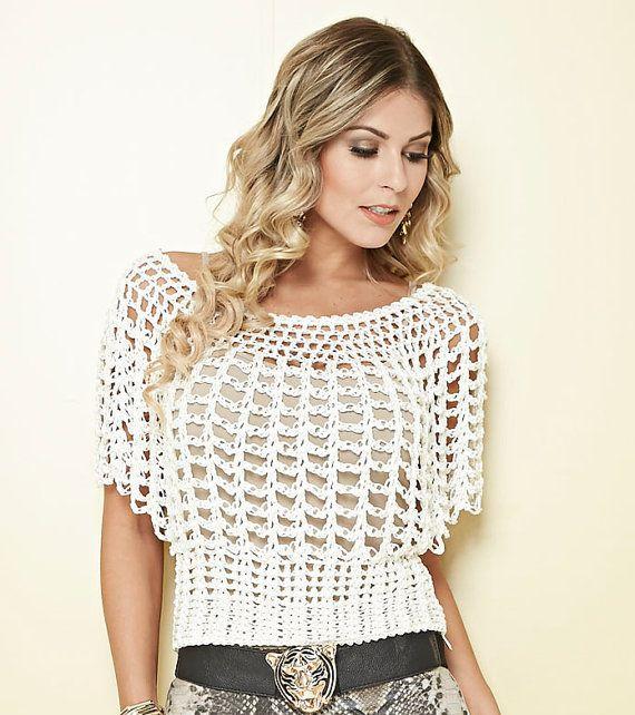 Lovely White Blouse Crochet Blouse Batwing crochet por MakeItToMe ...
