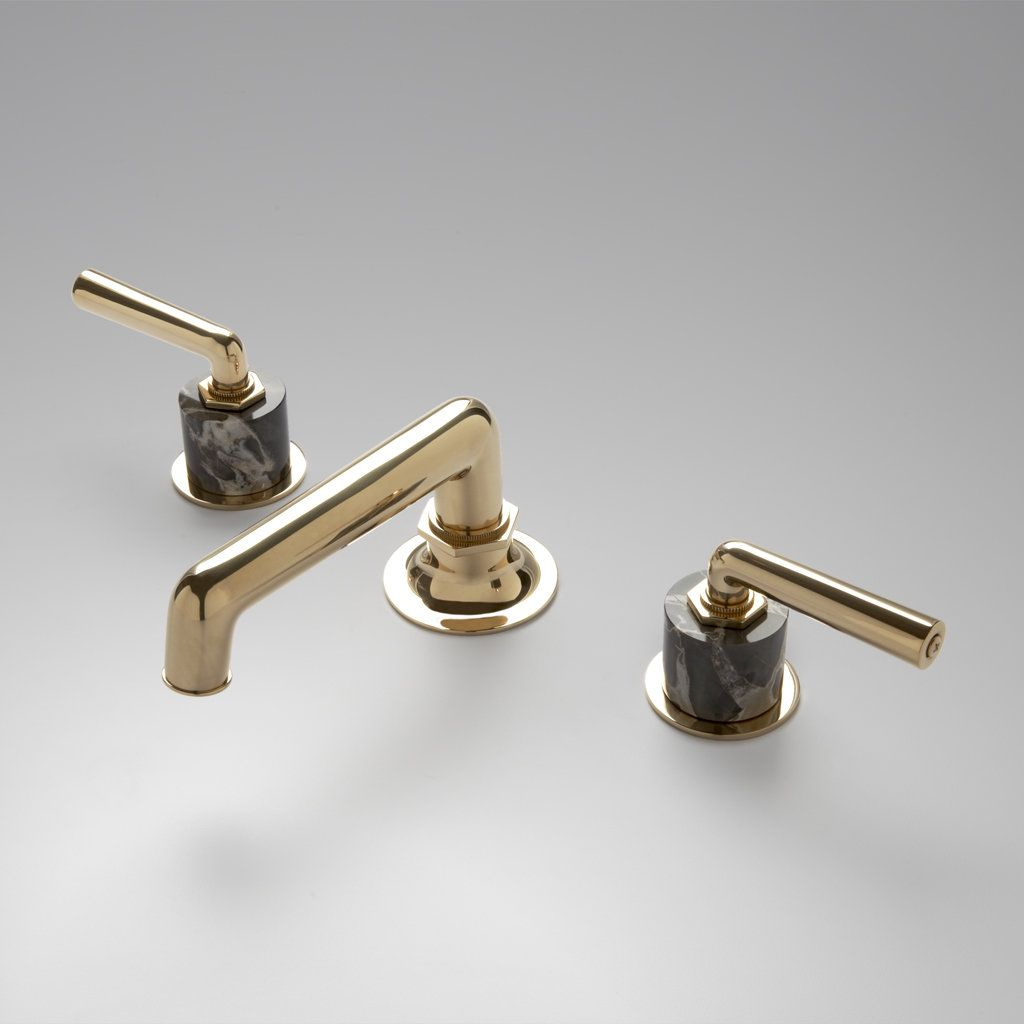 Henry Low Profile Three Hole Deck Mounted Lavatory Faucet with ...