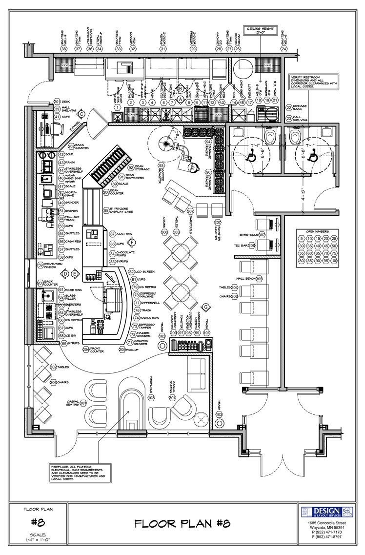Coffee shop floor plan day care center pinterest for Site plan dimensions