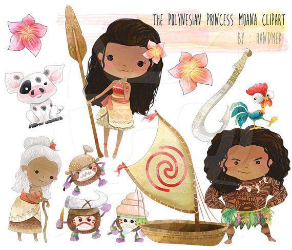 The Polynesian Princess clip art - Instant Download - PNG Files