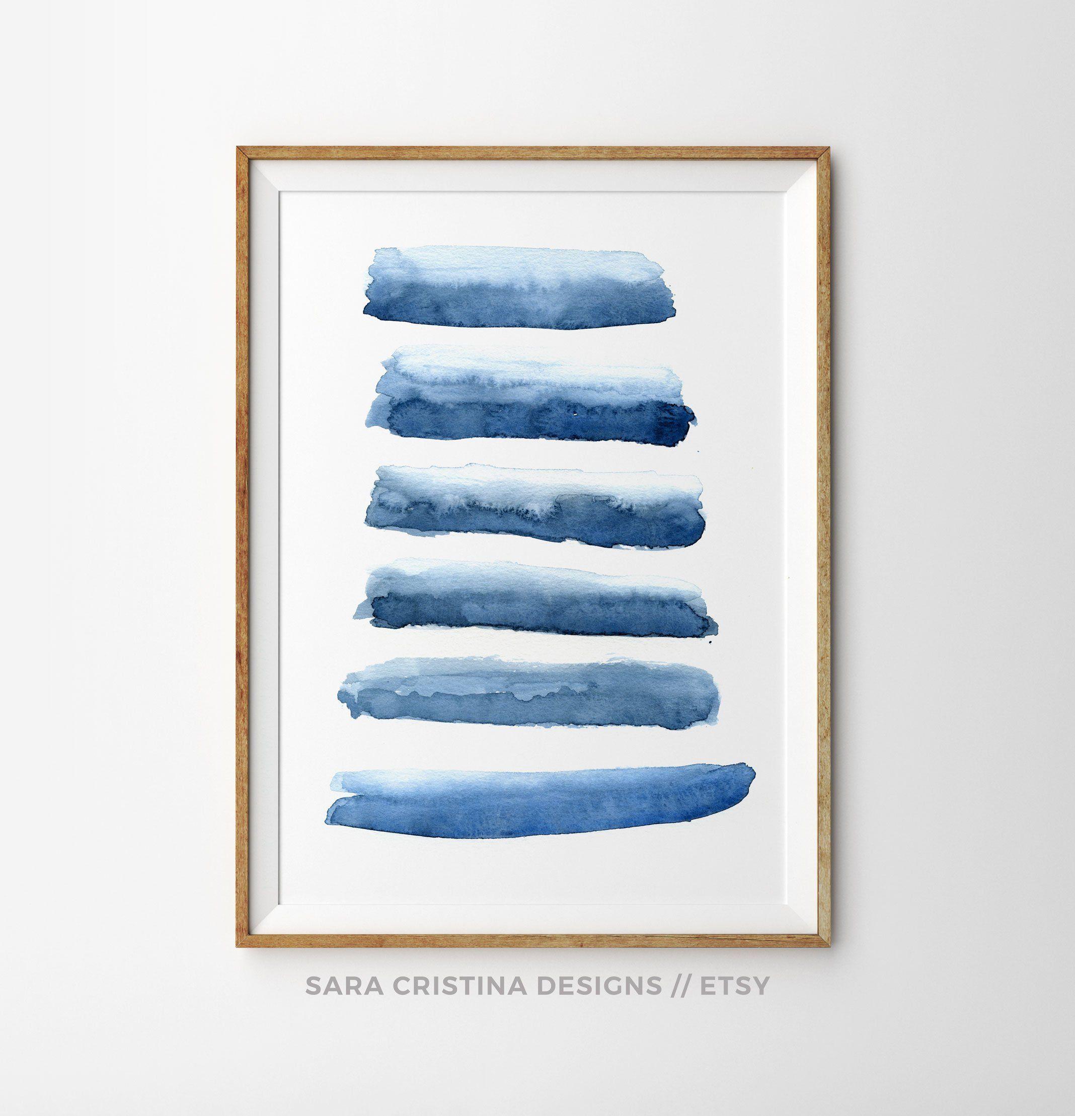 Abstract Watercolor Prints Indigo Blue Art Stripes Paint Splatter Ink Painting Navy Wall Art Minimalist Art Minimal Blue Watercolour Print Watercolor Print Abstract Art Poster Indigo Blue Art