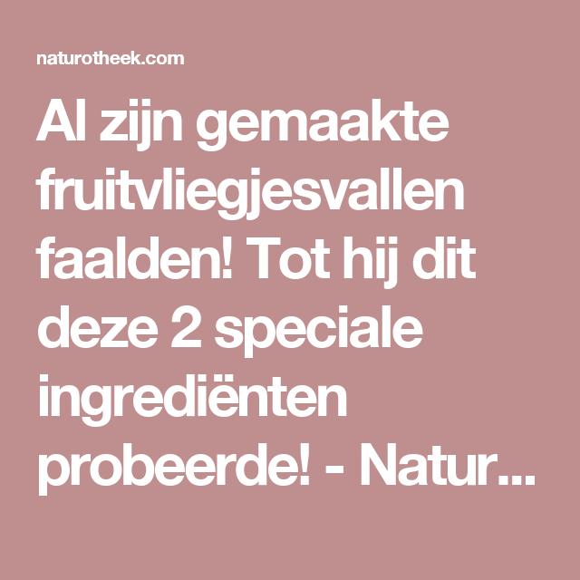 Al zijn gemaakte fruitvliegjesvallen faalden! Tot hij dit deze 2 speciale ingrediënten probeerde! - Naturotheek