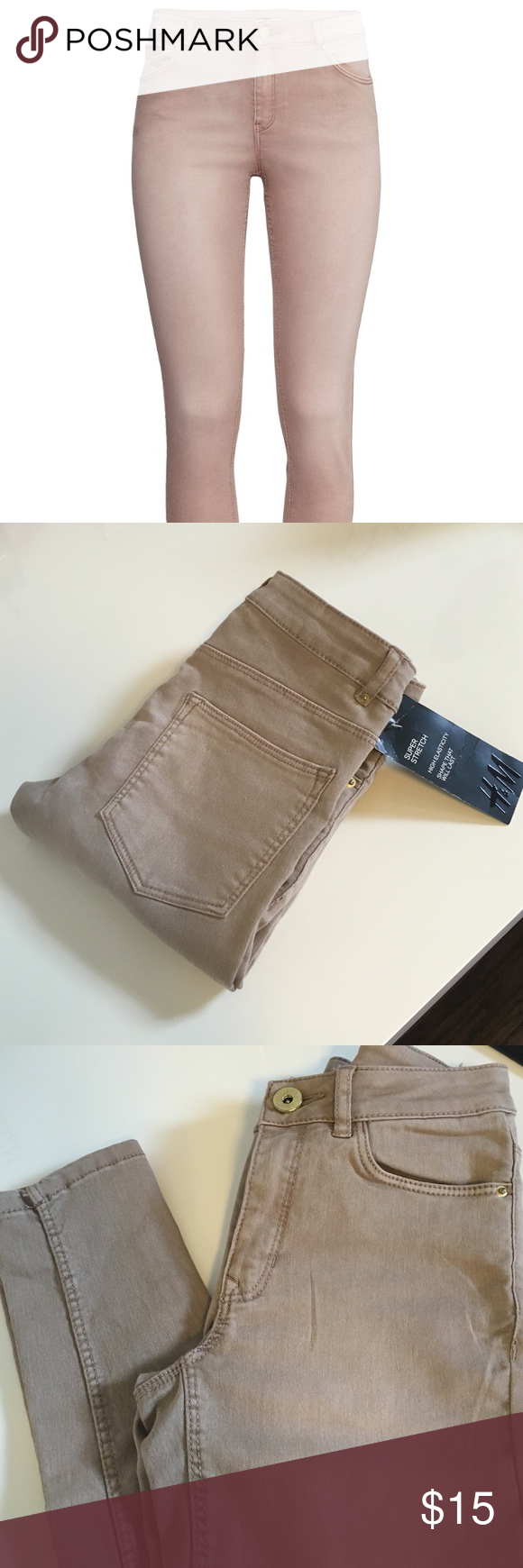 H&M Super Stretchy Shaping Tan Jeans 2 Brand New H&M 5-pocket pants in superstretch with slim legs and a regular waist. Size 2 = XS  Color : Tan / Beige.                      🌵 Make me an offer xo H&M Pants Skinny