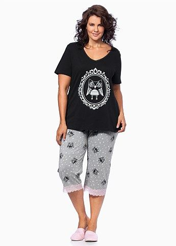 Plus Size Sleepwear for Women - Large Size Sleepwear Australia - OWL NIGHT  PJ SET - Virtu 2b1008280d64