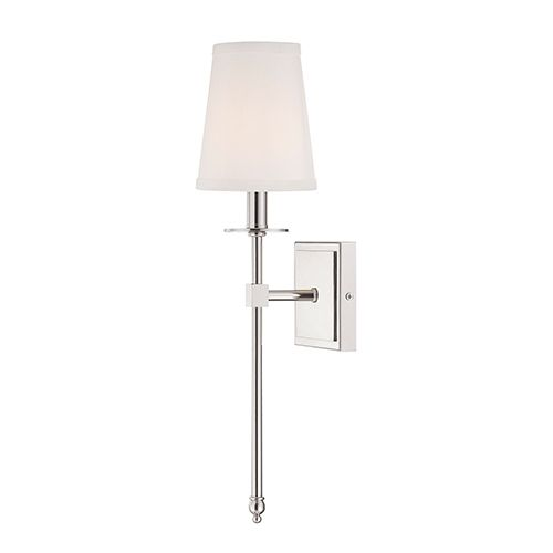 Monroe Polished Nickel One Light 5 Inch Wide Wall Sconce Savoy House 1 Light Armed Candle Bathroom Sconce Lighting Bathroom Sconces Chrome Wall Sconces Bedroom