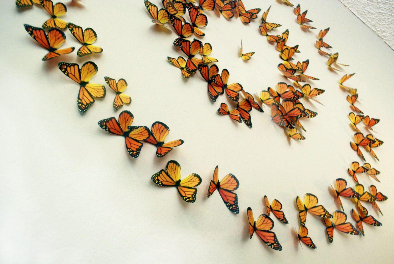 Monarch Butterflies 3d Wall Art Set Of 100 Etsy 3d Wall Art Butterfly Wall 3d Butterfly Wall Art