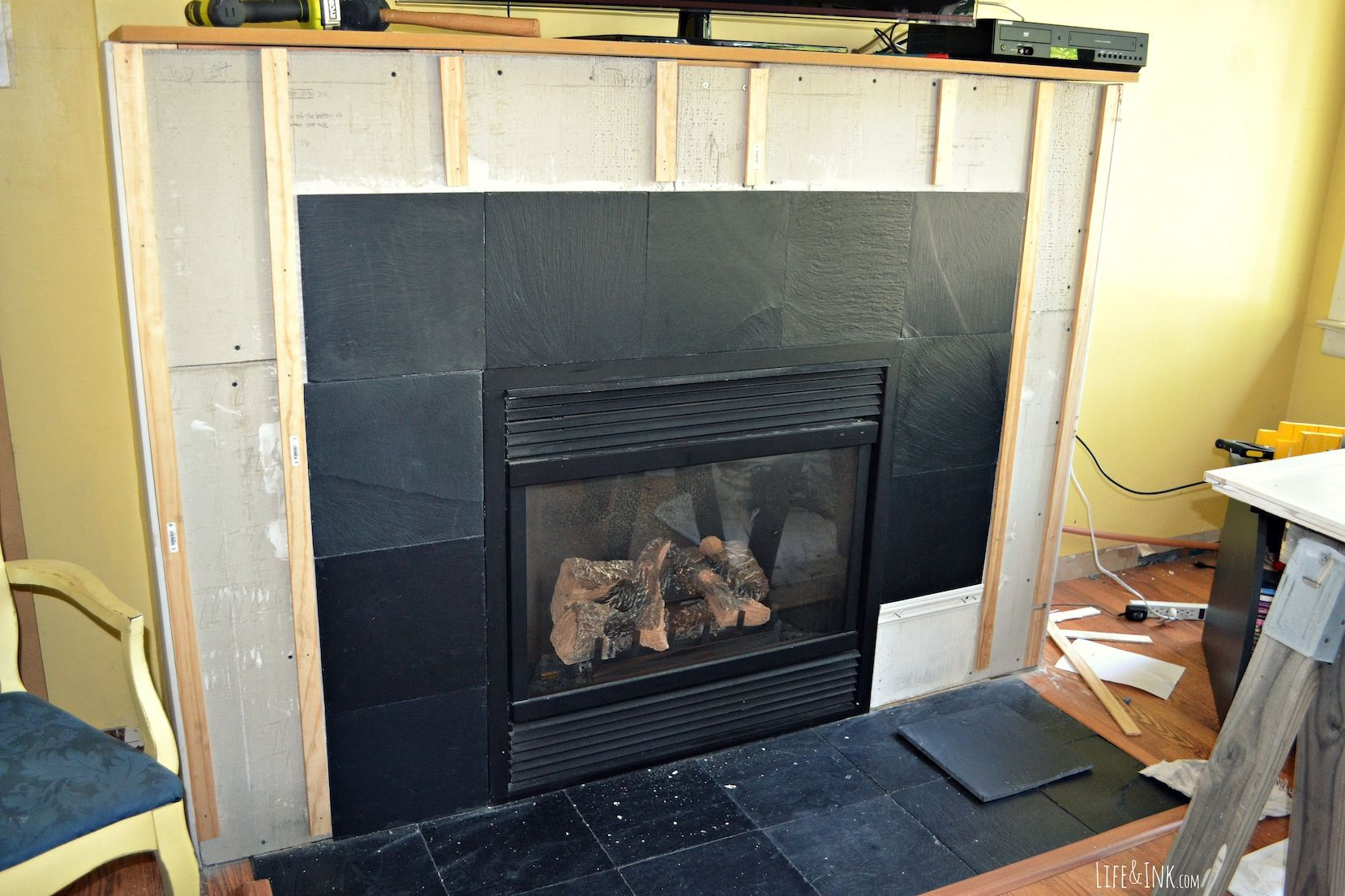 Tiled fireplace and Slate