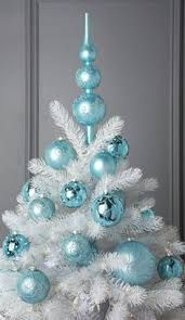 blue and white christmas tree white christmas tree with light blue ornament - White Christmas Tree With Blue Decorations