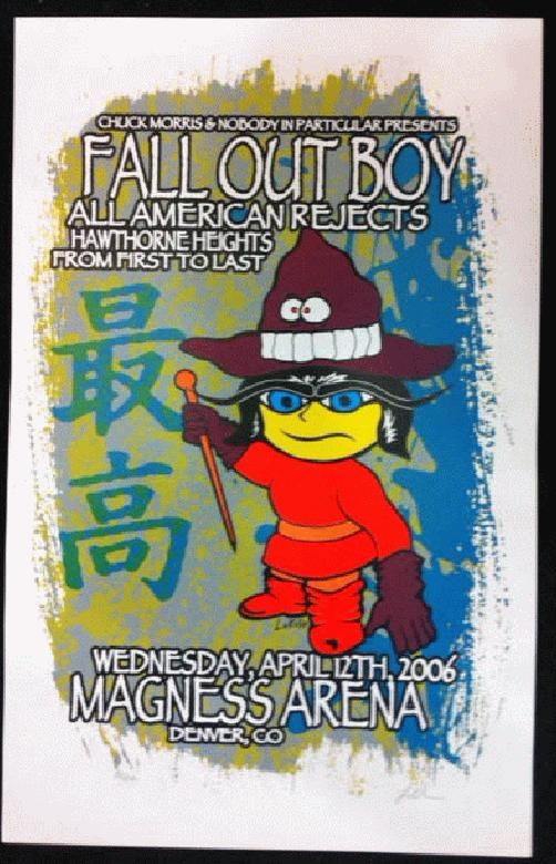 original silkscreen concert poster for fall out boy all american rejects and hawthorne heights. Black Bedroom Furniture Sets. Home Design Ideas