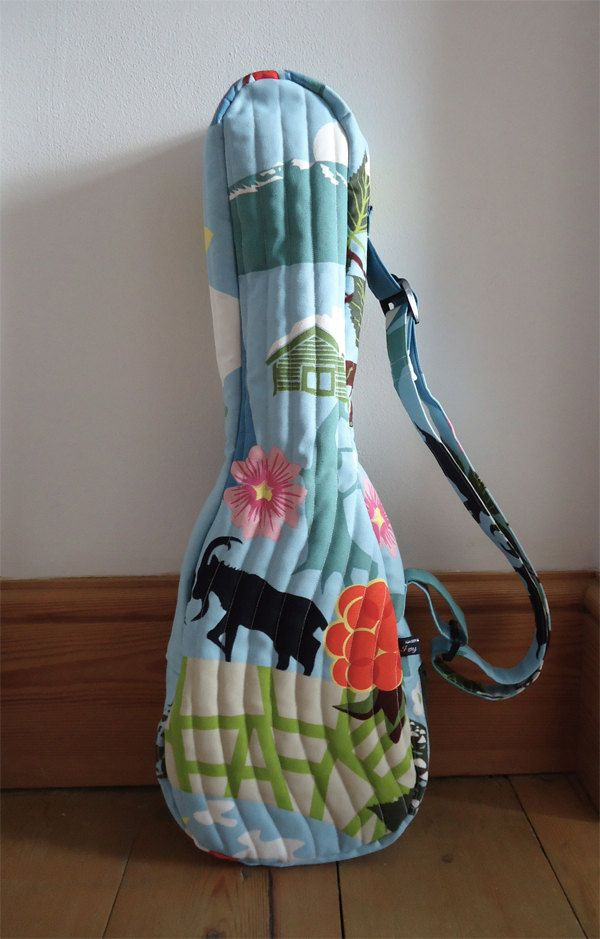 Quilted Ukulele Gig Bag With Mountain Goat Print By Ivy Arch
