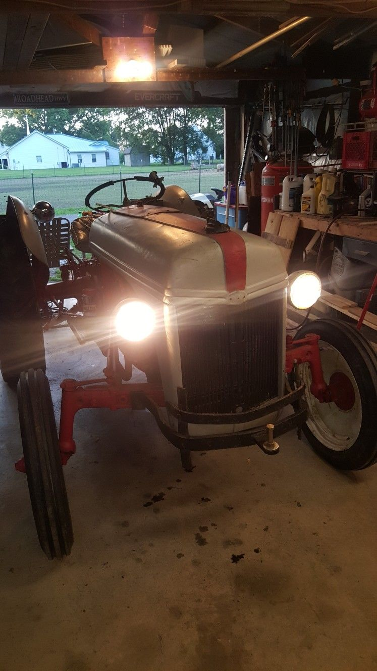 12v conversion on 1948 8n ford tractor  used gm alternator  wired up  headlights &