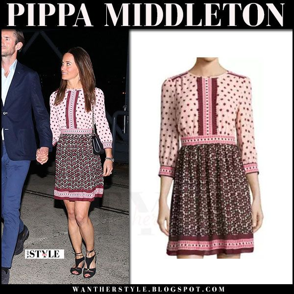 495ac80a69f Pippa Middleton in burgundy floral print mini dress kate spade and black  sandals lk bennett what she wore may 31 2017