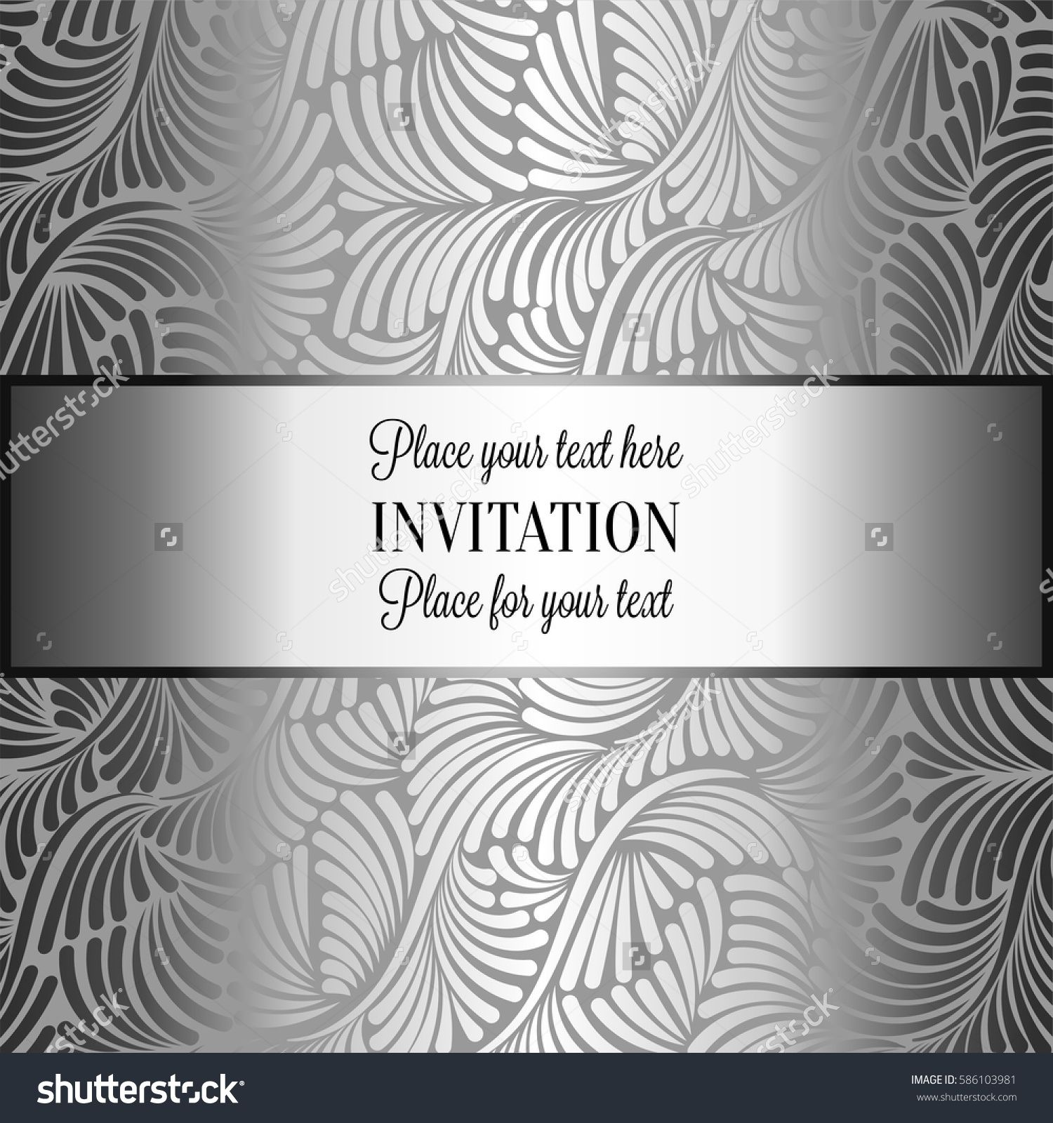 Baroque Background With Antique Luxury Black And Metal Silver