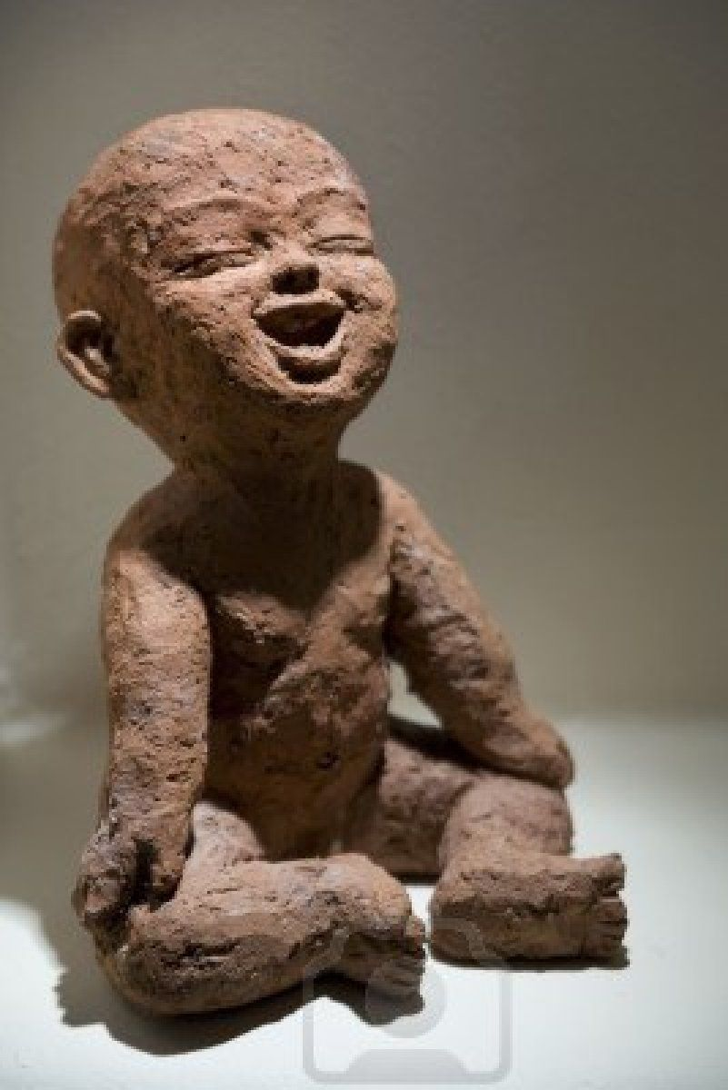 Baby buddha sculpture made in rough clay fat babies