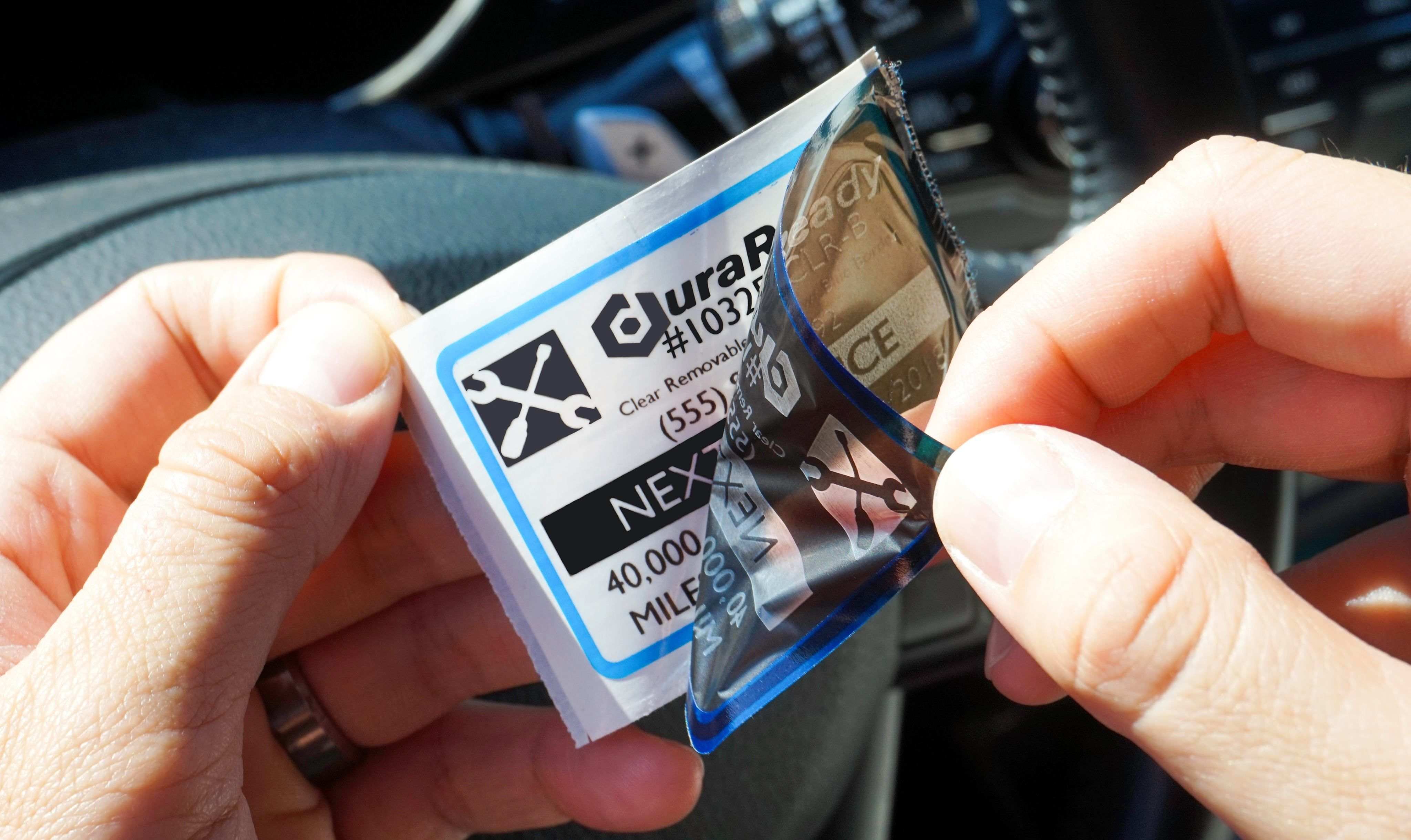 Durareadys 1032 removable oil change and service reminder labels are now available in clear with