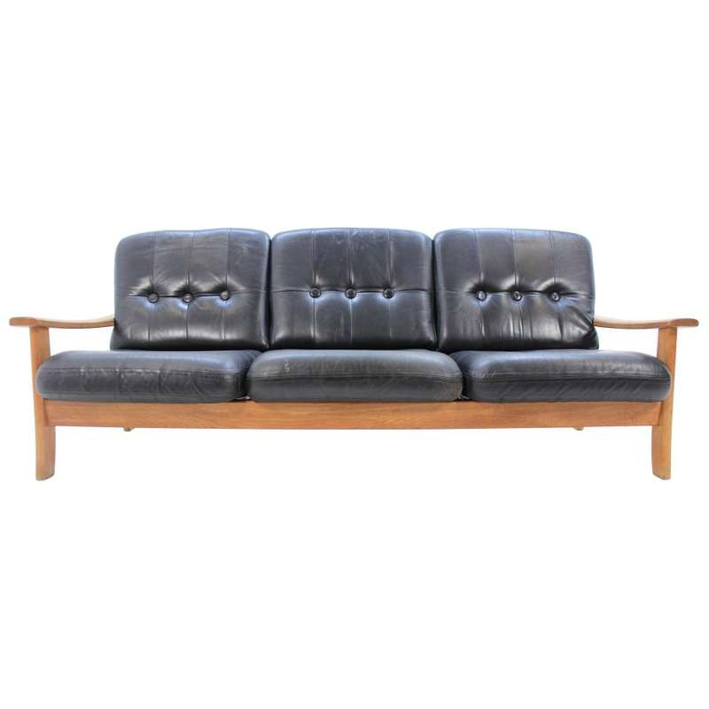 Midcentury Scandinavian Leather Sofa 1960s For Sale With Images