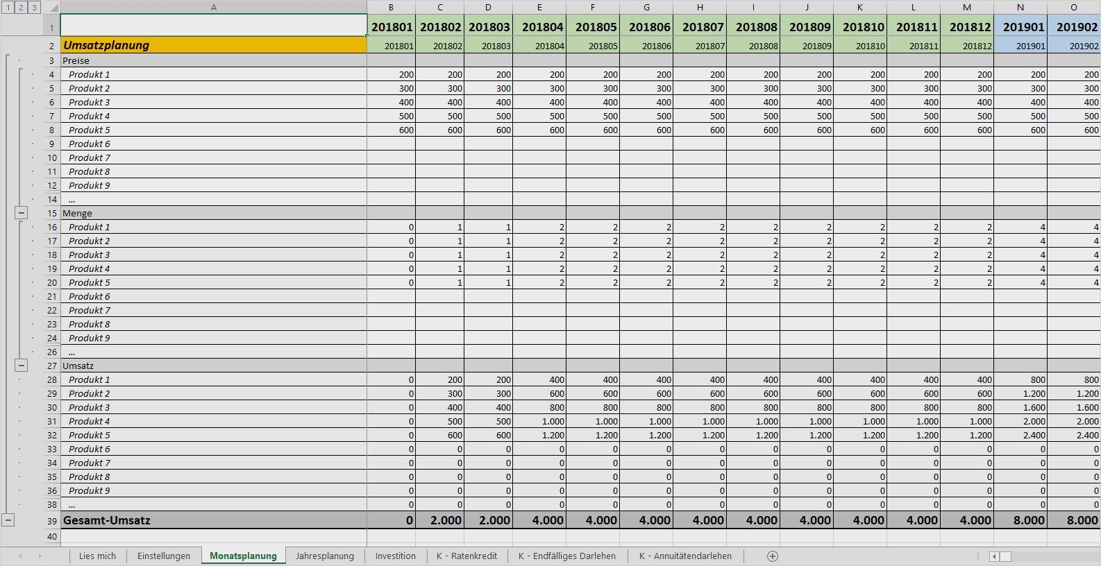 Die Detailplanung Der Businessplan Excel Vorlage