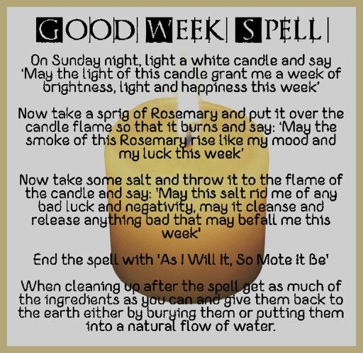 Good Week Spell . - Pinned by The Mystic's Emporium on Etsy