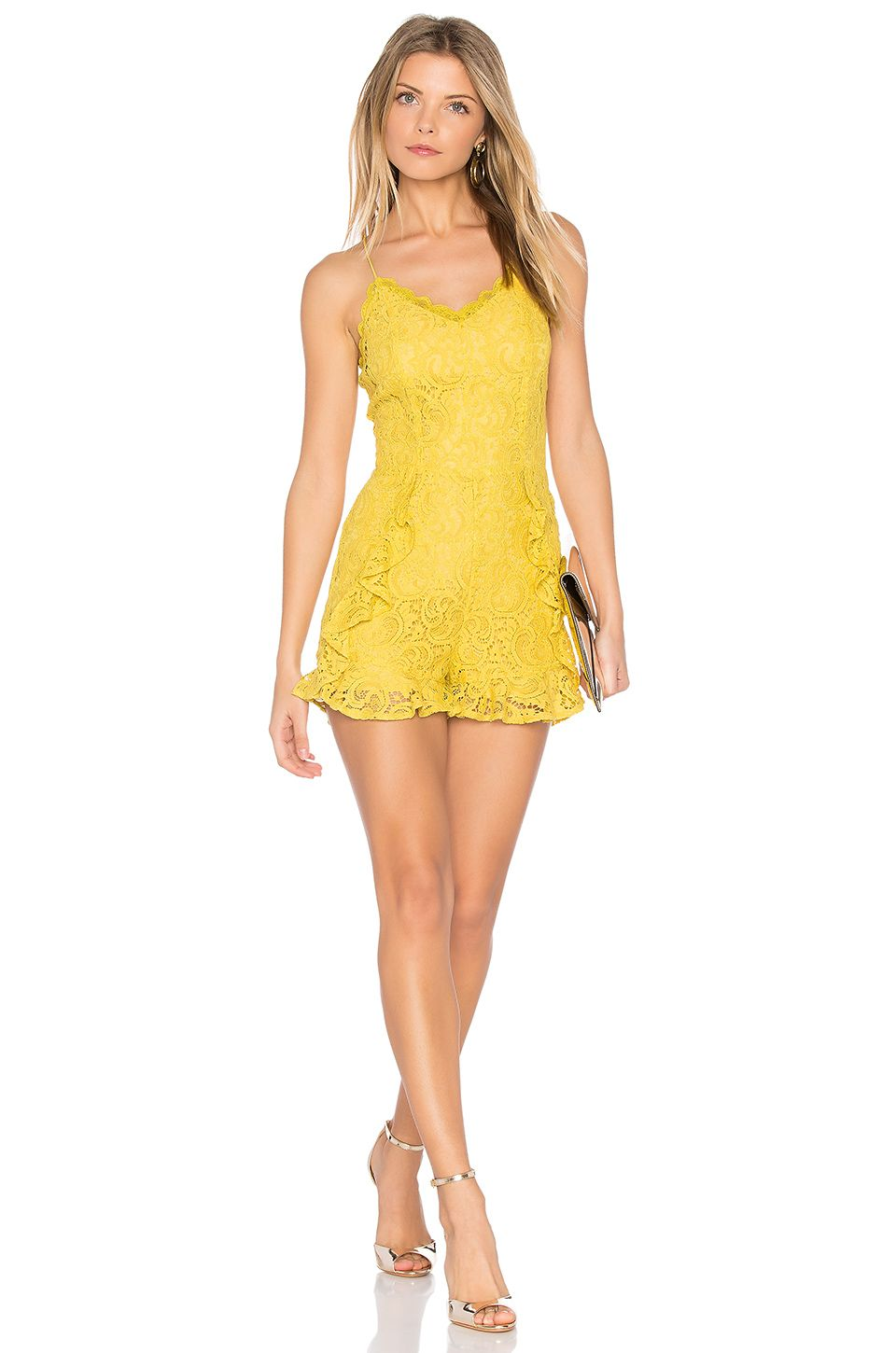 a3c68651344 J.O.A. Frill Bottom Detail Lace Romper in Yellow