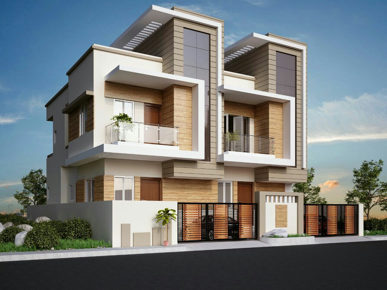 Twin Bungalows Row Housing In 2019 House Design