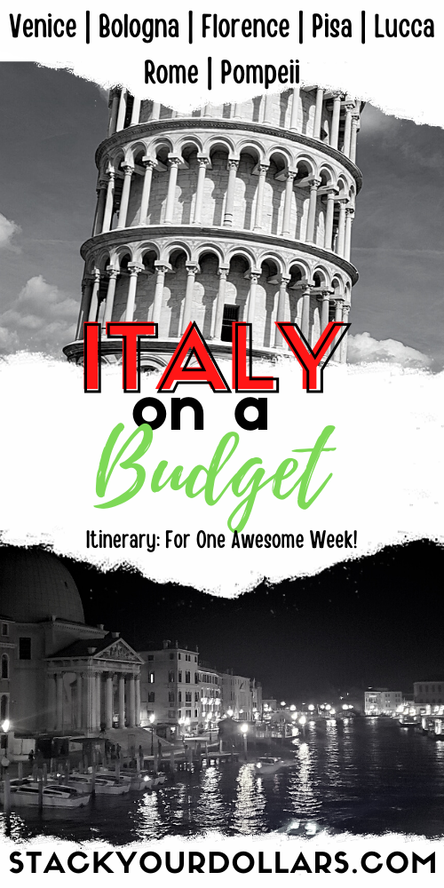 Are you interested in Italy travel on a budget? I'm going to show you how my family was able to plan a trip to Italy on a budget. We were able to visit Venice, Pisa, Pompeii, Lucca, Bologna, Rome and Florence in one trip without blowing our budget. I'm going to show you exactly how we were able to do it! Budget Europe travel is so much fun, and totally worth the effort planning your vacation! #europetravel #budgettravel #vacation #visitItaly #Italy #stackyourdollars #Rome #Pompeii