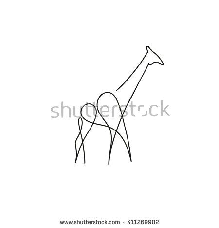 One Line Giraffe Design Silhouette Hand Drawn Minimalism Style Vector Illustration