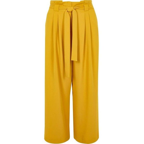 1df9856f5413 River Island Plus yellow tapered leg pants ($90) ❤ liked on Polyvore  featuring pants, trousers, wide leg trousers, women, yellow, plus size wide  leg pants, ...