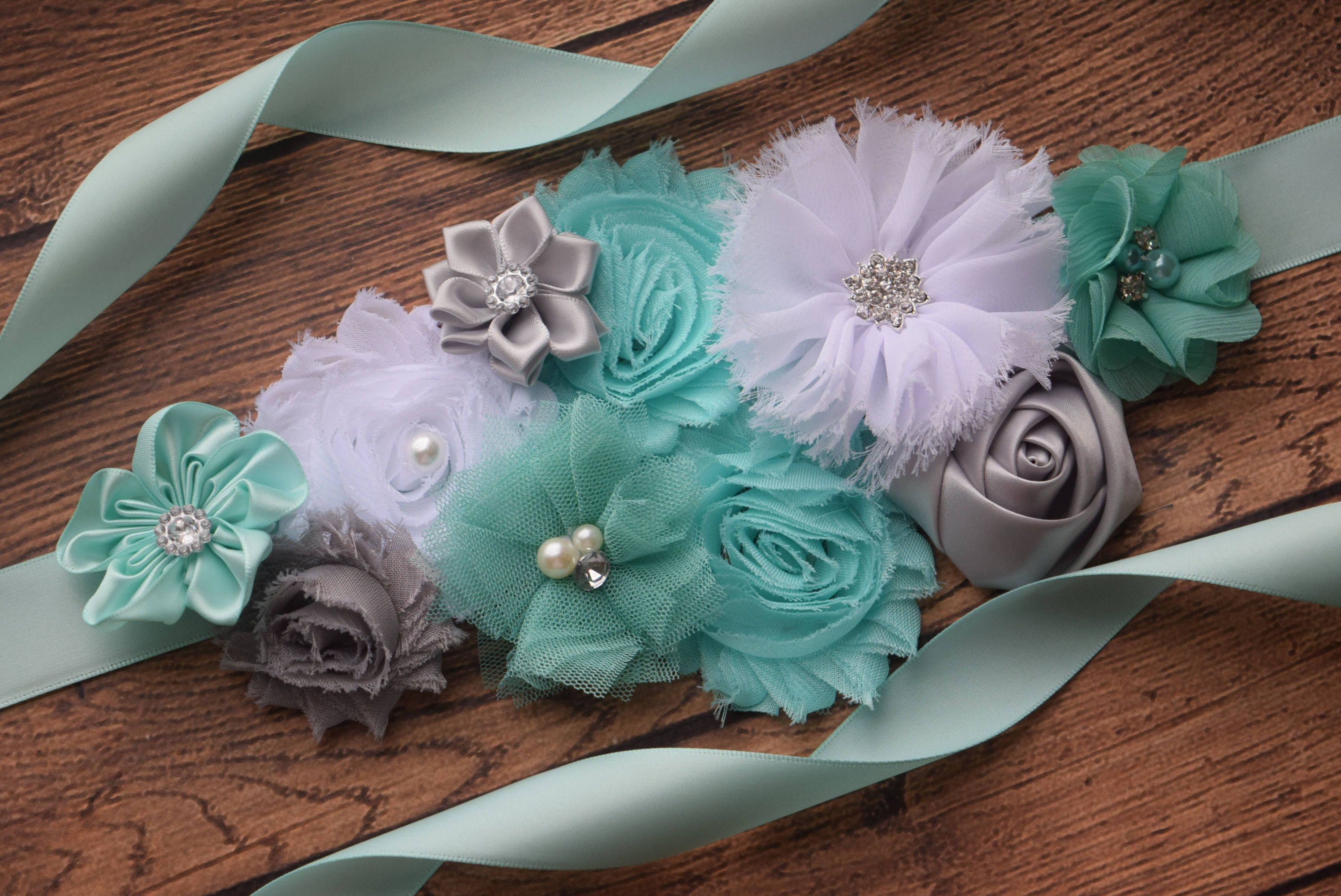 Aqua White Grey Sash Gray Sash Sash Flower Belt Maternity
