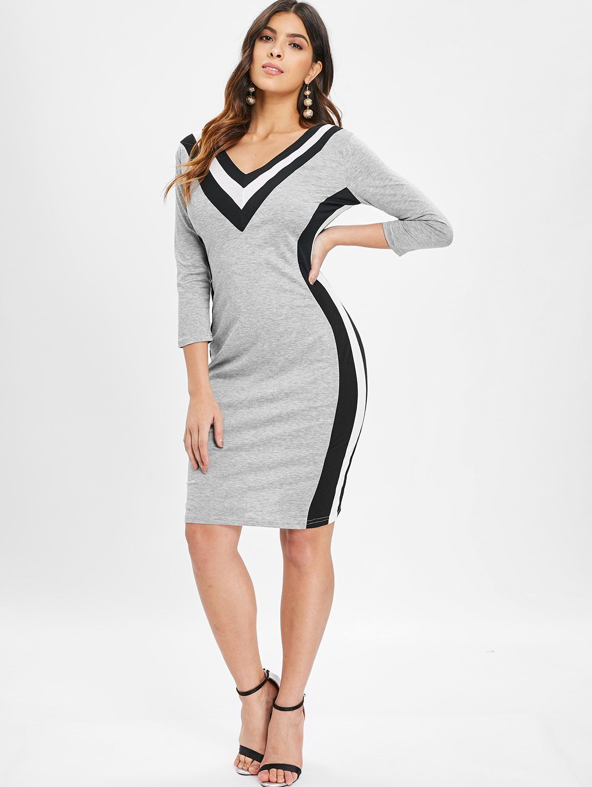 612c1a1f8f Contrast Color V Neck Mini Dress  Bodycon Dress casual outfit street styles   Bodycon Dress