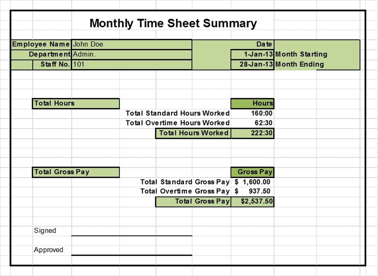 Timesheet Excel Templates 1 Week 2 Weeks And Monthly Versions In