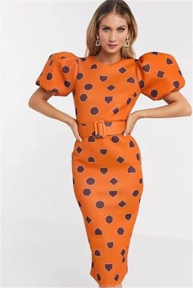Women S Orange Puff Sleeve Bodydon Polka Midi Evening Etsy Short Orange Dress Orange Dress Outfits Orange Midi Dress [ 1185 x 794 Pixel ]
