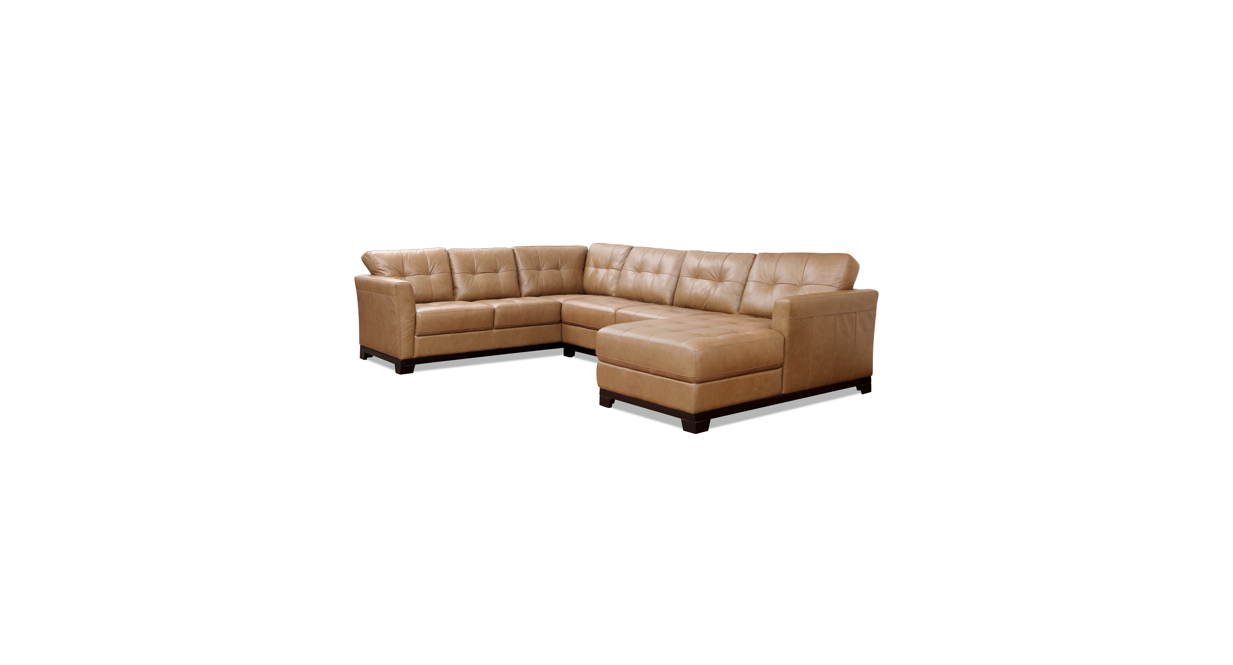 Martino Leather 3 Piece Chaise Sectional Sofa