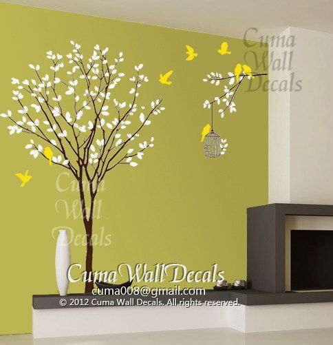 Vinyl wall decals tree wall decals and birds wall decal by cuma ...