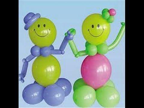 Como hacer un muñeco carita feliz con globos_how to make a doll