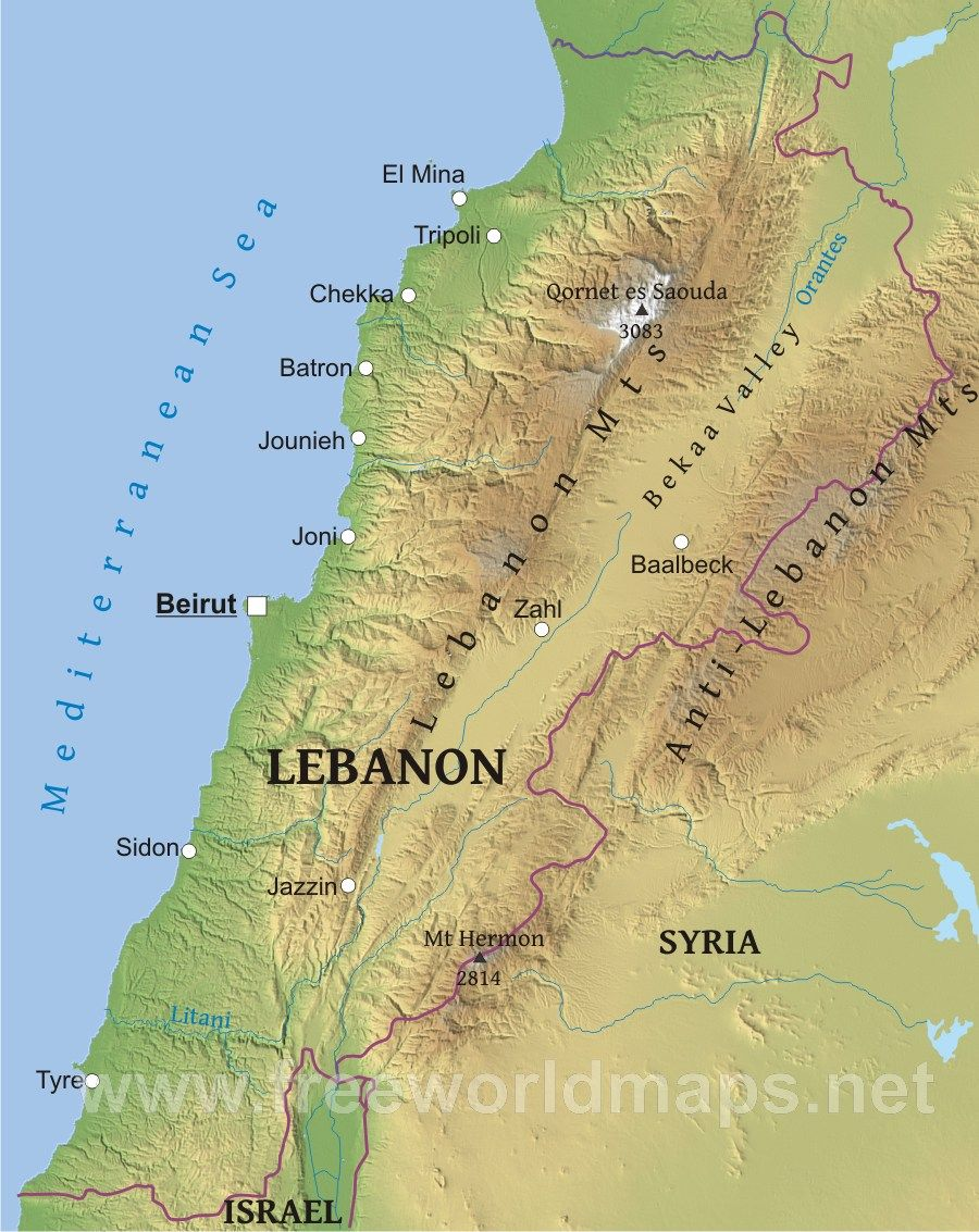 lebanon-map-physical | Middle East Maps in 2019 | Lebanon map