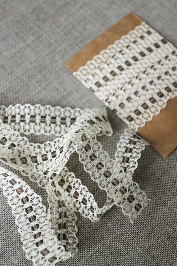 Vintage Lace Trim Cream Lace Woven With Dark Chocolate Brown Ribbon 3 4 Wide Lace Vintage Wedding Supplies Lace Weave Vintage Lace Lace Trim