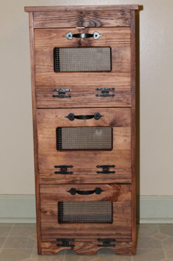 Potato Bin Wood Storage Rustic Primitive Kitchen Wooden