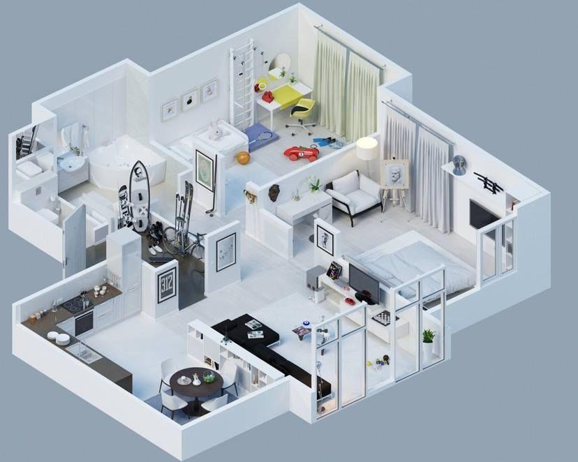 Pin By Joan Wang On Arredamento Home Design Plans 3d House Plans Floor Plan Design