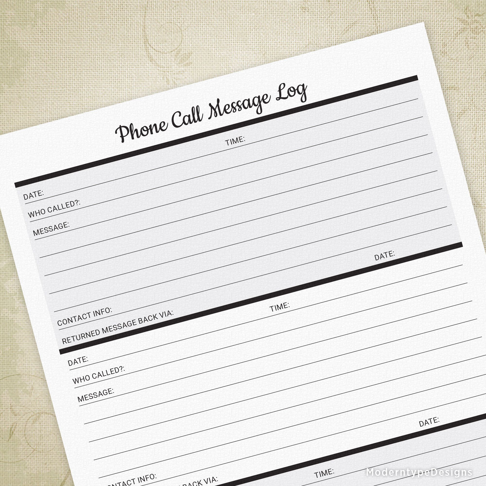 Phone Call Message Log Printable Voicemail Tracker Answering