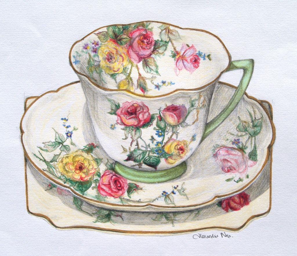 Moss rose by talented artist 39 alexandra nea - Laminas decorativas vintage ...