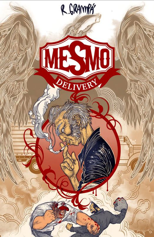In 2010 Dark Horse Comics published the trade paperback edition of Mesmo Delivery by Rafael Grampa. The book is being reprinted in a more collectible hardcover format and will be released on April 29, 2014. This new edition will feature an introduction by 100 Bullets creator Brian Azzarello and pinup art by Eduardo Risso, Mike Allred, Craig Thompson, and Fabio Moon.