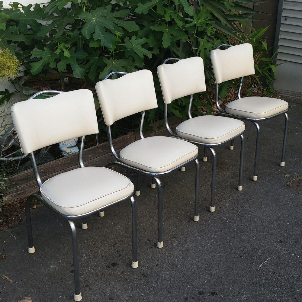 Vintage kitchen chairs x 4 1960 s mid century chrome handle ...