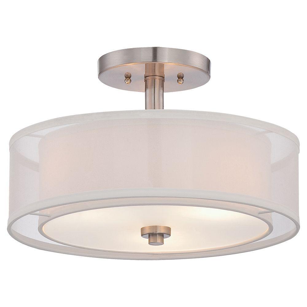 Minka Lavery Parsons Studio 3 Light Brushed Nickel Semi Flush Mount Light 4107 84 Semi Flush Lighting Flush Lighting Semi Flush Ceiling Lights