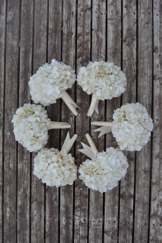 Bridesmaid Bouquet, Wedding Flowers, Wedding Bouquet, Ivory Hydrangea Bouquet, Garden Bouquet, Bridesmaid Flowers, Wedding Flower Set, Bride #weddingbridesmaidbouquets