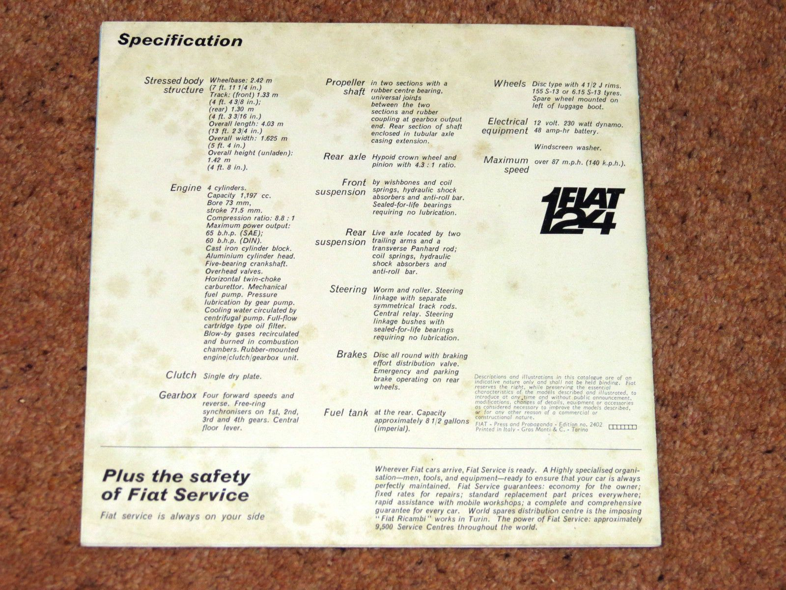Fiat 124 Launch Brochure Circa 1966 67 In Vehicle Parts Rear Axle Schematic Accessories Car Manuals