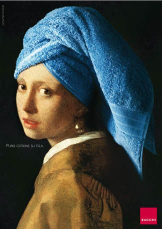 Zucchi ad: Girl with a pearl earring - and bath towel